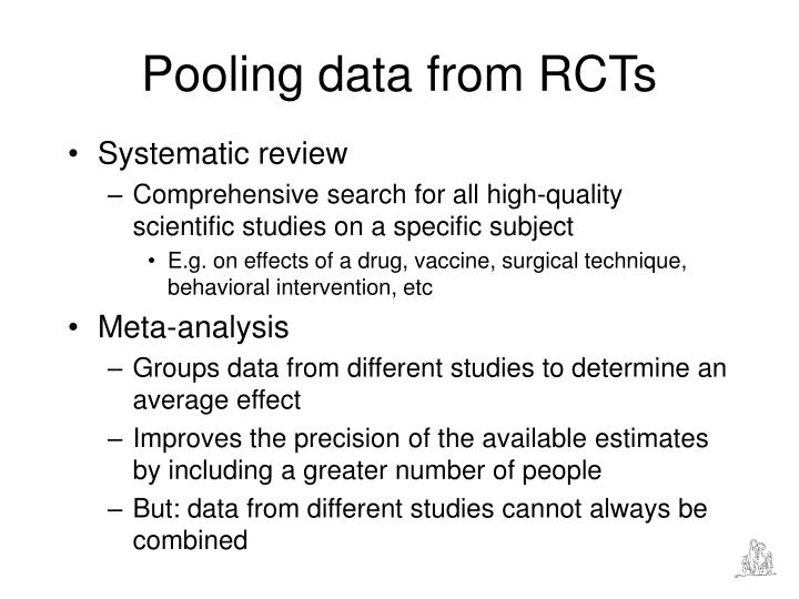 Pooling data from RCTs