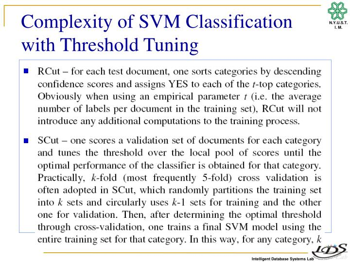 Complexity of SVM Classification with Threshold Tuning