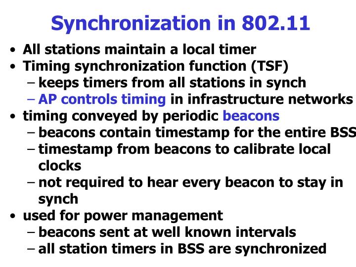 Synchronization in 802.11
