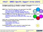 halo gmes specific support action ssa