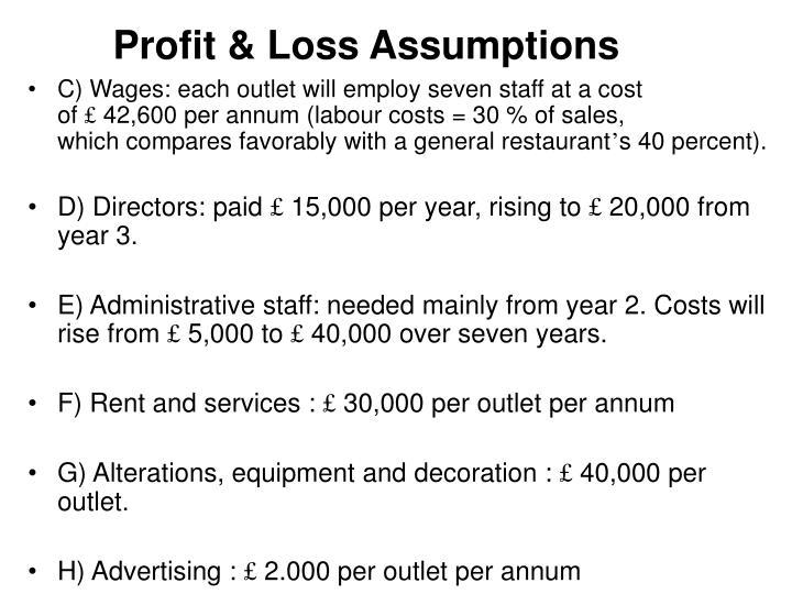 Profit & Loss Assumptions