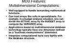 mdd features multidimensional computations