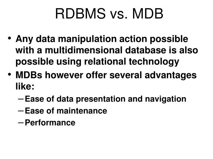 RDBMS vs. MDB