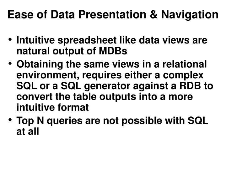 Ease of Data Presentation & Navigation