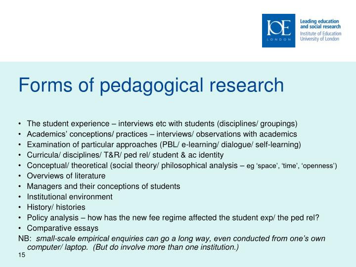 Forms of pedagogical research