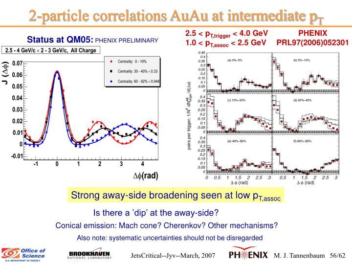 2-particle correlations AuAu at intermediate p