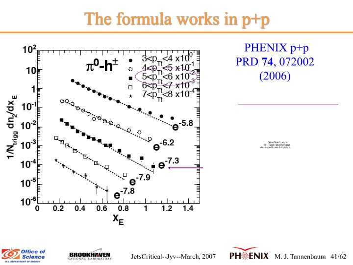 The formula works in p+p