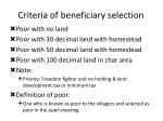 criteria of beneficiary selection