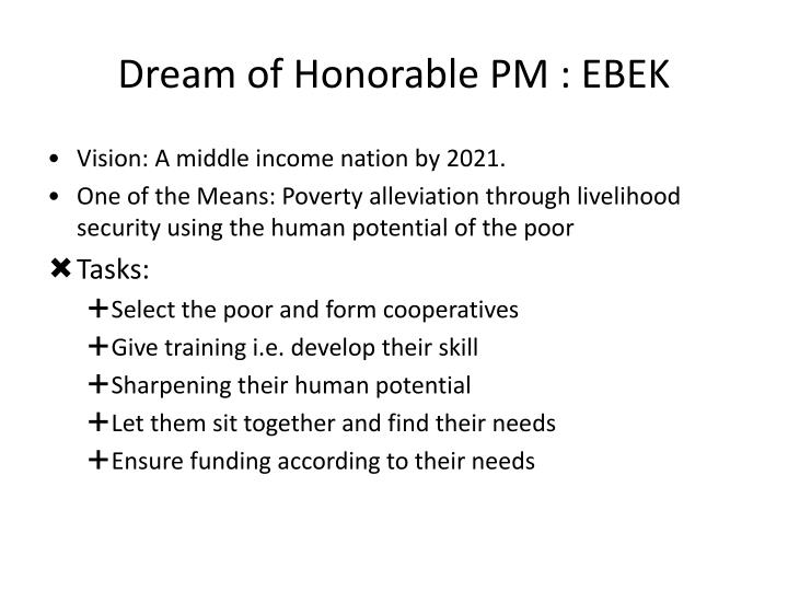 Dream of honorable pm ebek