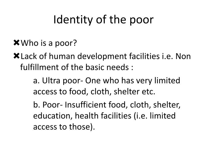 Identity of the poor