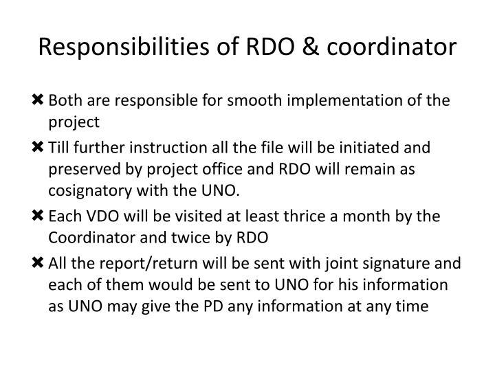 Responsibilities of RDO & coordinator
