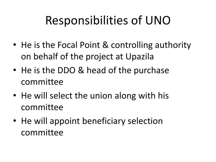 Responsibilities of UNO