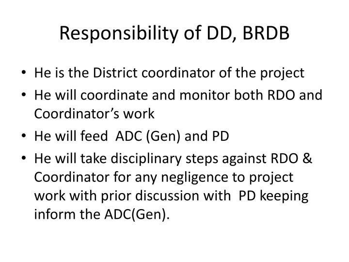 Responsibility of DD, BRDB