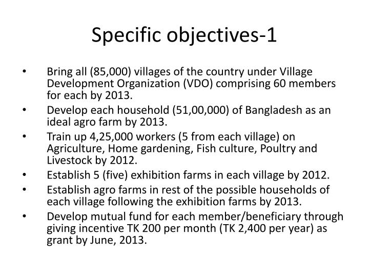 Specific objectives-1