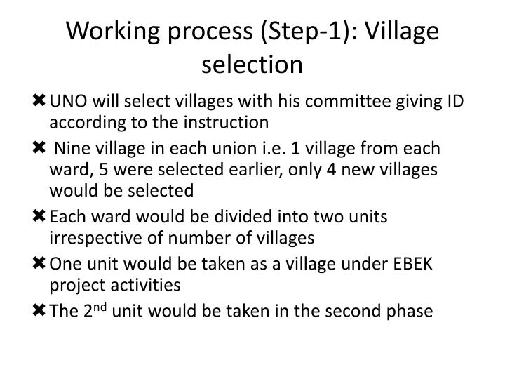 Working process (Step-1): Village selection