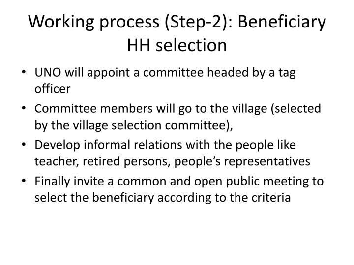 Working process (Step-2): Beneficiary HH selection