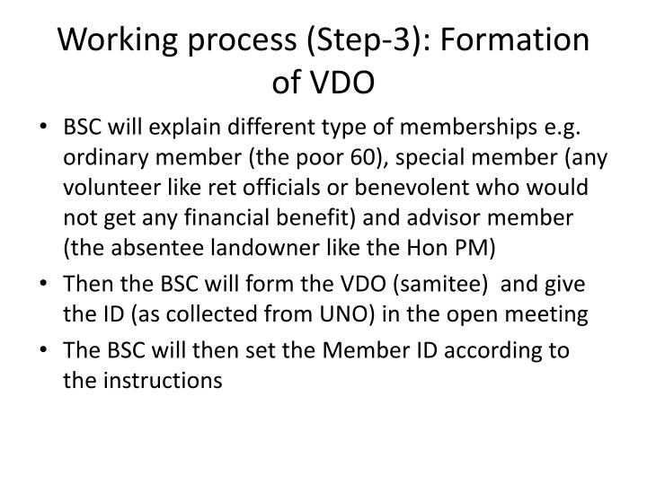 Working process (Step-3): Formation of VDO