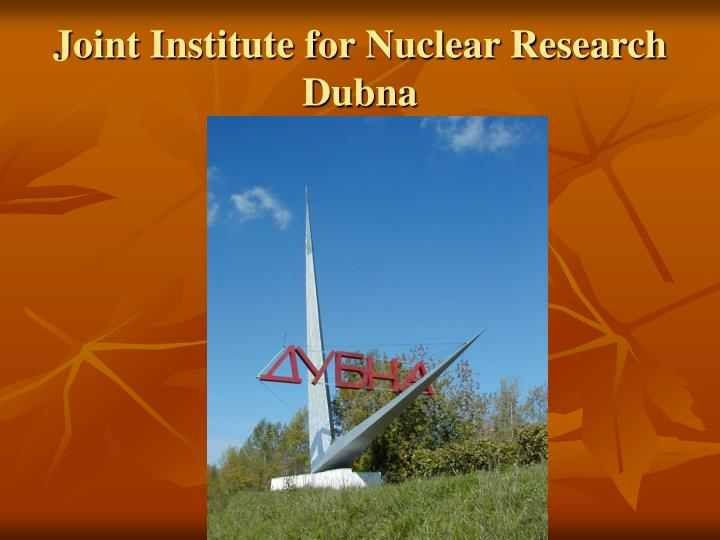 Joint Institute for Nuclear Research  Dubna