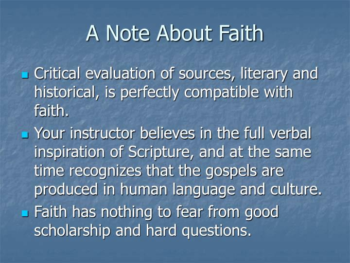 A Note About Faith