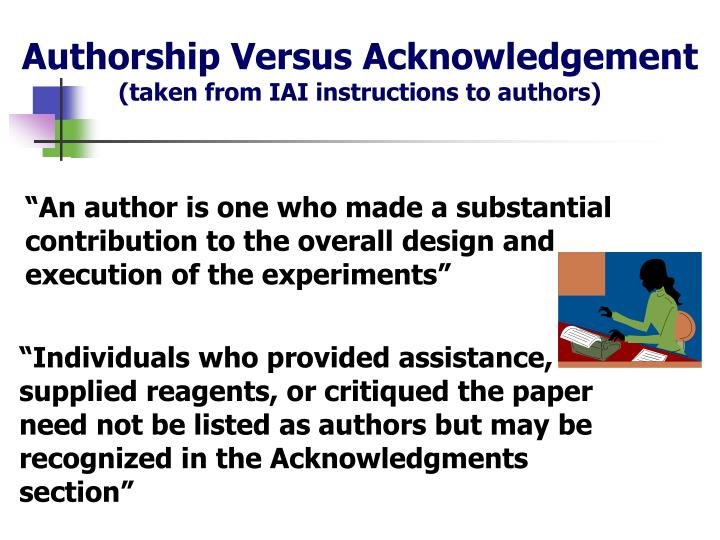 Authorship Versus Acknowledgement
