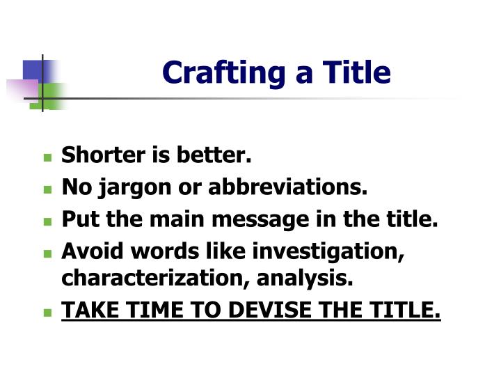 Crafting a Title