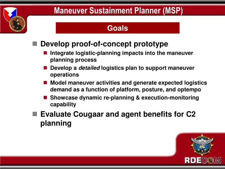 Maneuver Sustainment Planner (MSP)