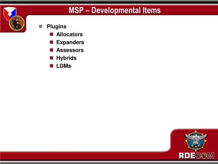 MSP – Developmental Items