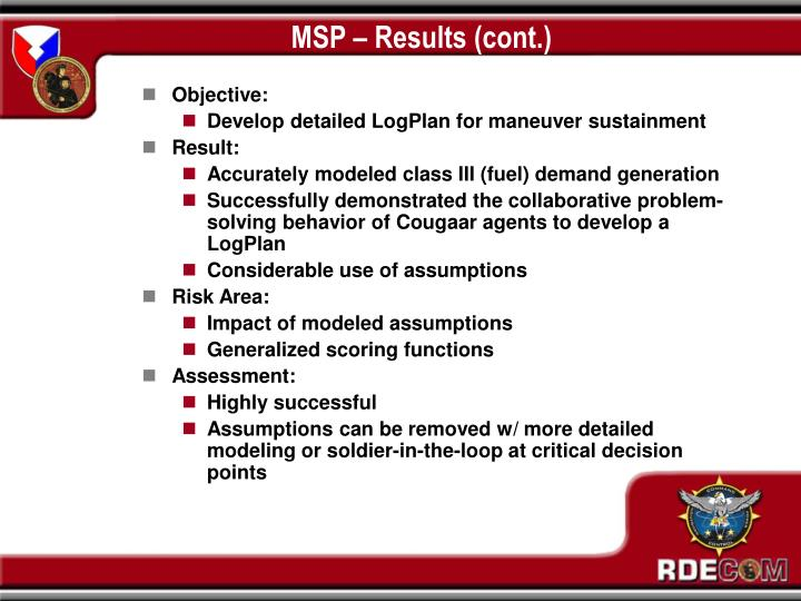 MSP – Results (cont.)