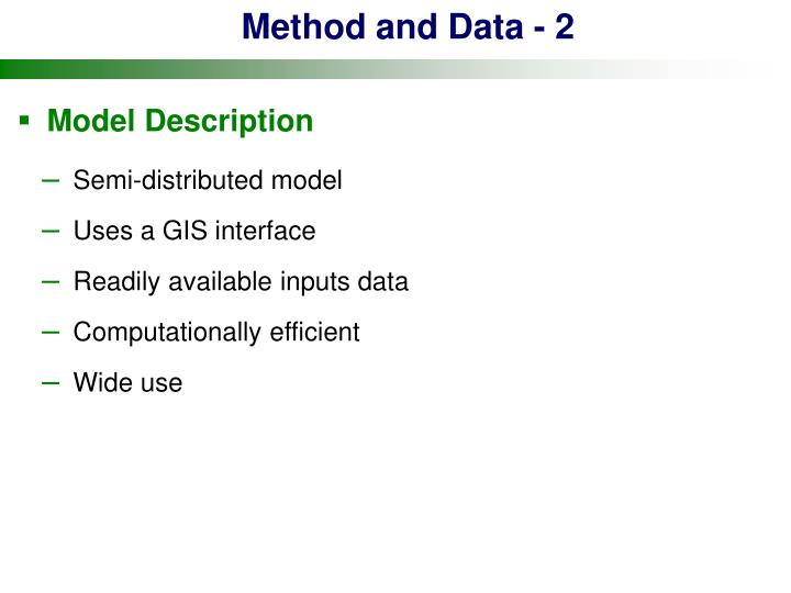 Method and Data - 2