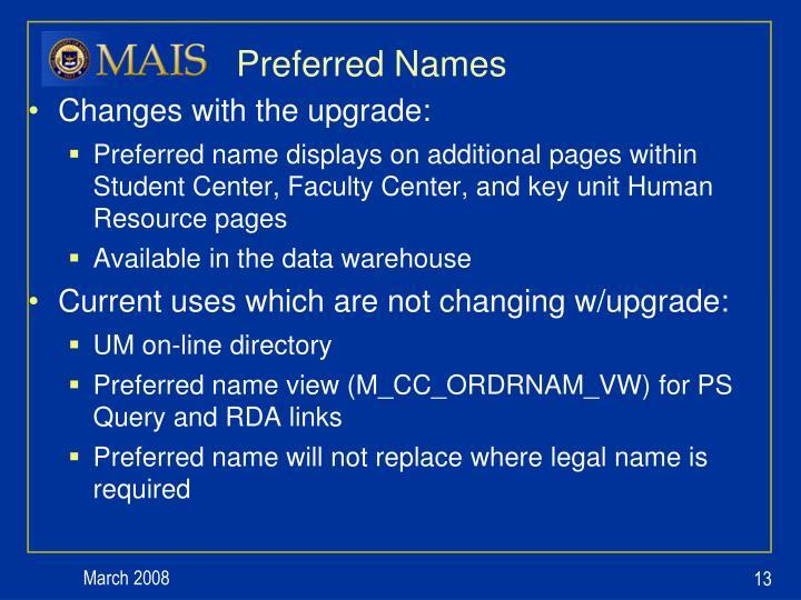 Preferred Names