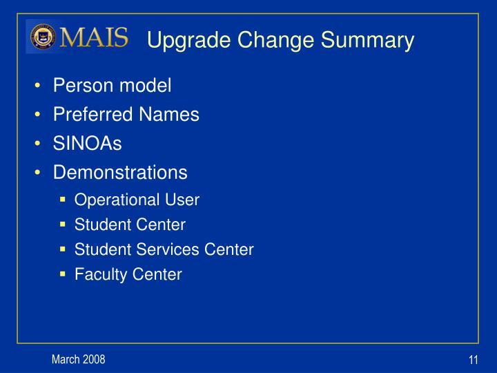 Upgrade Change Summary