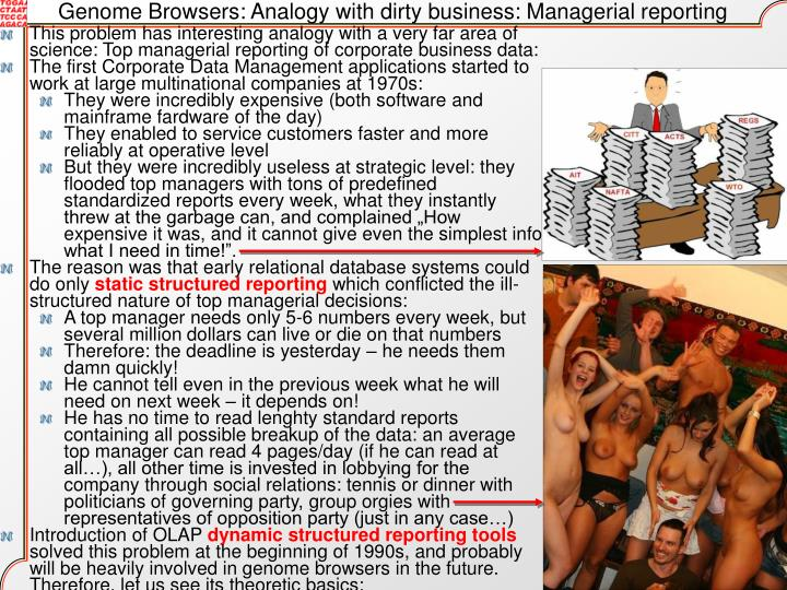 Genome Browsers: Analogy with dirty business: Managerial reporting