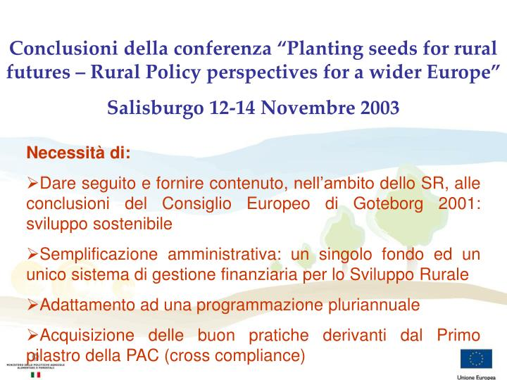 "Conclusioni della conferenza ""Planting seeds for rural futures – Rural Policy perspectives for a wider Europe"""