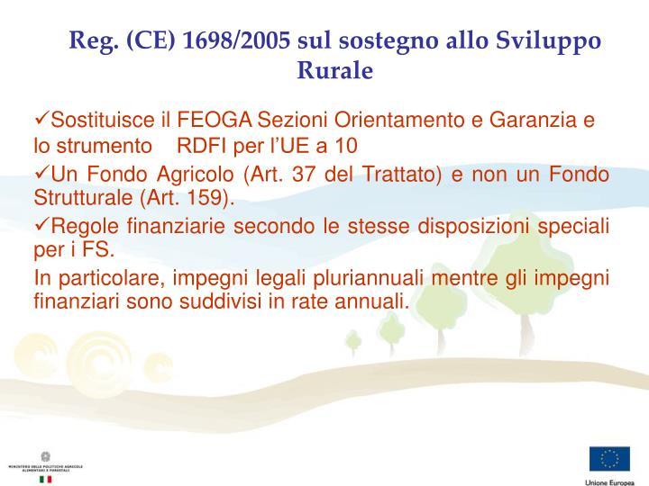 Reg. (CE) 1698/2005 sul sostegno allo Sviluppo Rurale