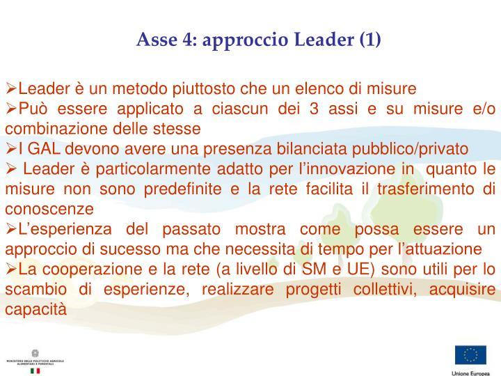 Asse 4: approccio Leader (1)