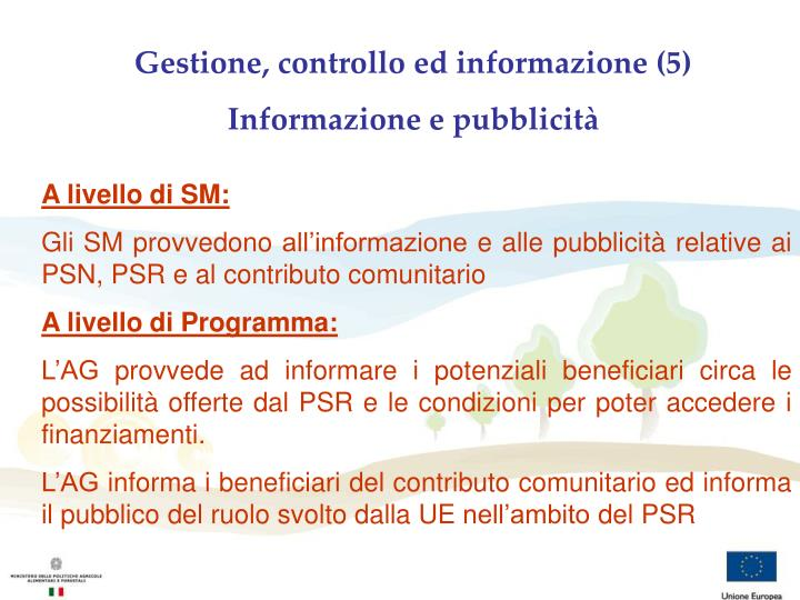 Gestione, controllo ed informazione (5)