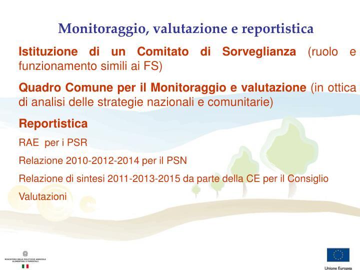 Monitoraggio, valutazione e reportistica