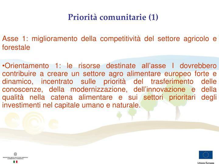 Priorità comunitarie (1)