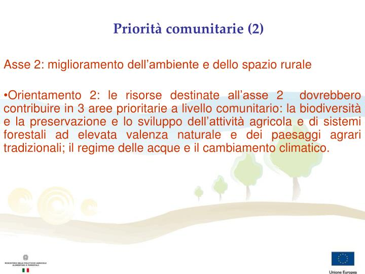 Priorità comunitarie (2)