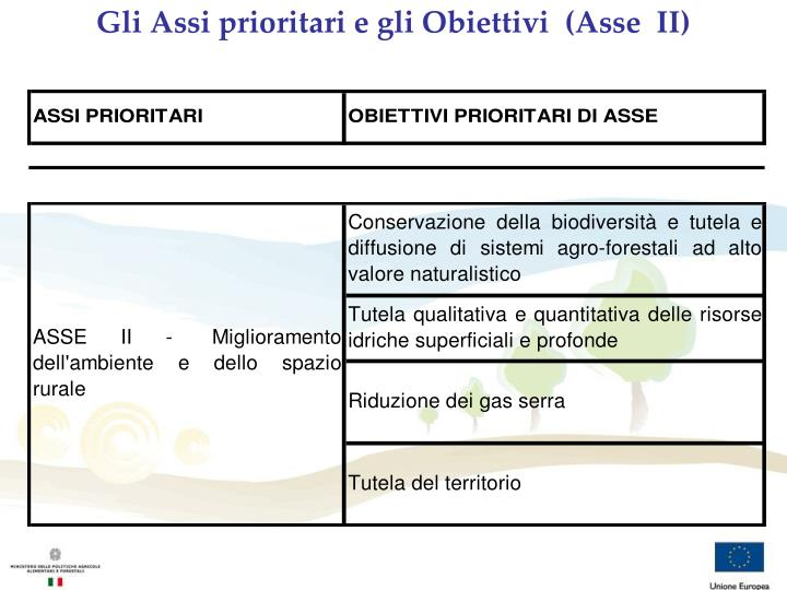 Gli Assi prioritari e gli Obiettivi  (Asse  II)