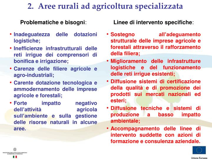 2.  Aree rurali ad agricoltura specializzata
