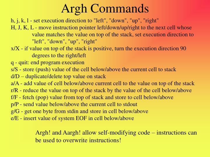 Argh Commands