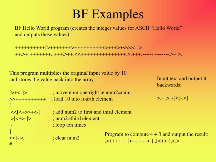 BF Examples