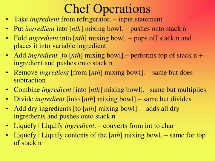 Chef Operations