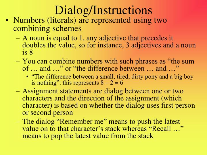 Dialog/Instructions