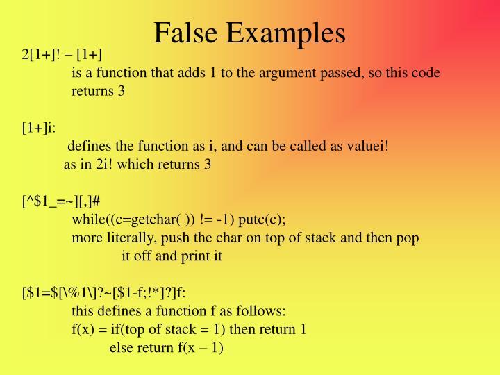False Examples