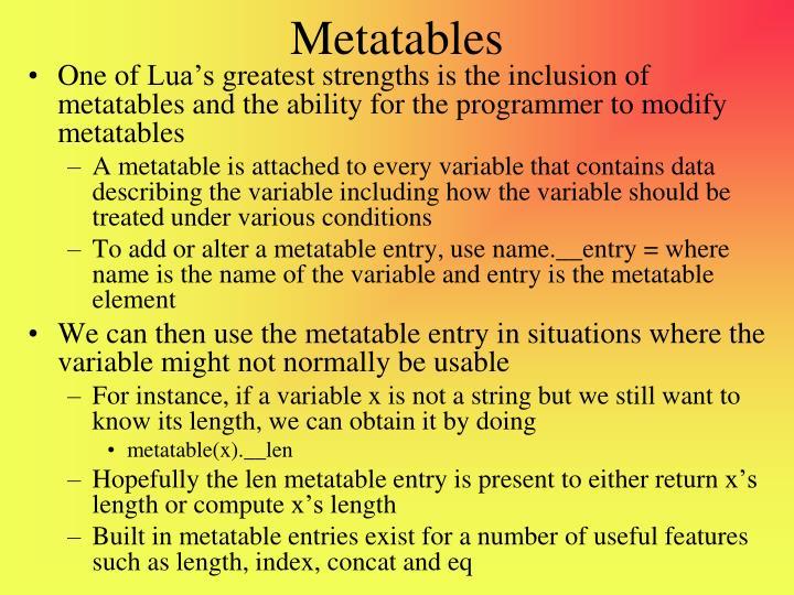 Metatables