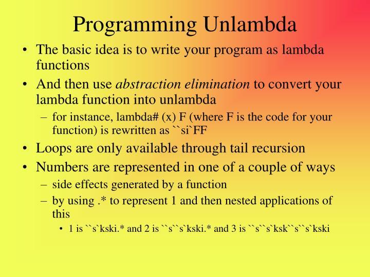 Programming Unlambda