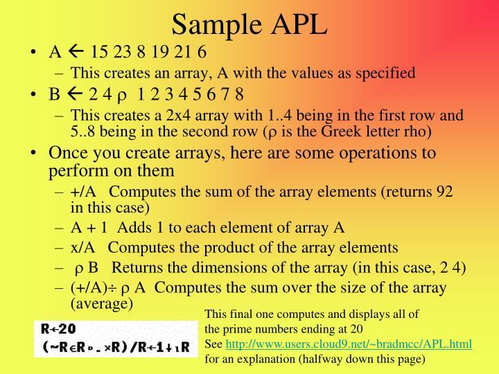 Sample APL