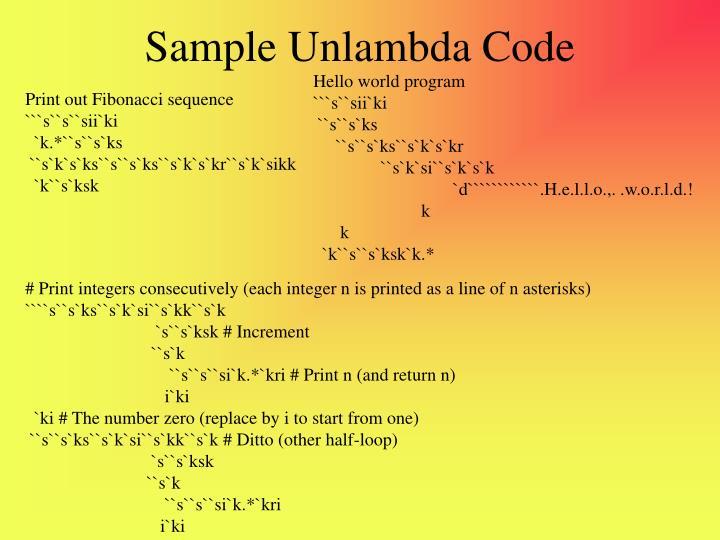 Sample Unlambda Code